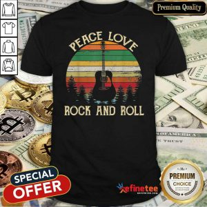 Attractive Peace Love Rock And Roll Guitar Vintage Shirt - Design By Refinetee.com