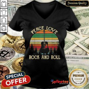 Attractive Peace Love Rock And Roll Guitar Vintage V-neck - Design By Refinetee.com