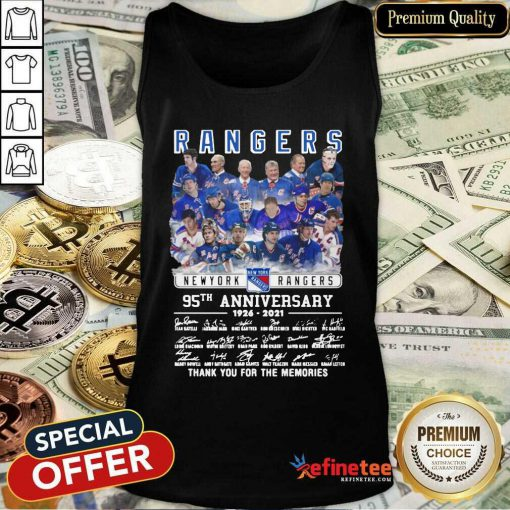 Cute The New York Rangers Team Players 95th Anniversary 1926 2021 Signatures Thank Tank Top