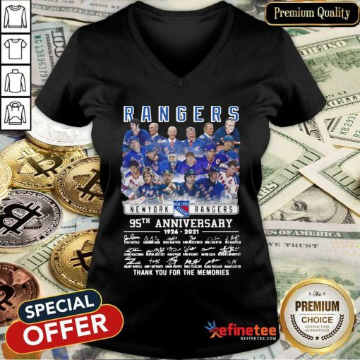Cute The New York Rangers Team Players 95th Anniversary 1926 2021 Signatures Thank V-neck