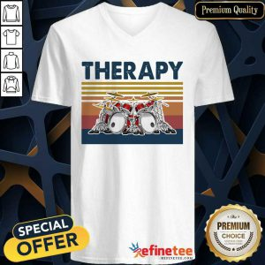 Fantastic Therapy Drum Band Music Vintage V-neck