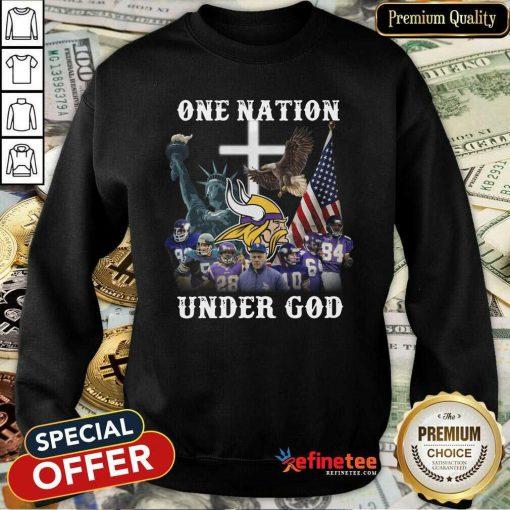 Hot The Minnesota Vikings Team Football One Nation Under God 2021 Sweatshirt