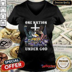 Hot The Minnesota Vikings Team Football One Nation Under God 2021 V-neck