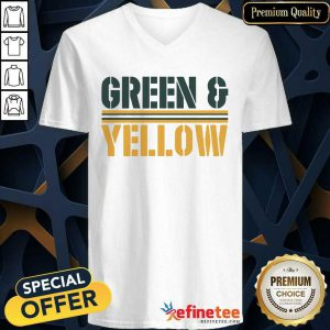Lovely Green and Yellow Green Bay Football V-neck