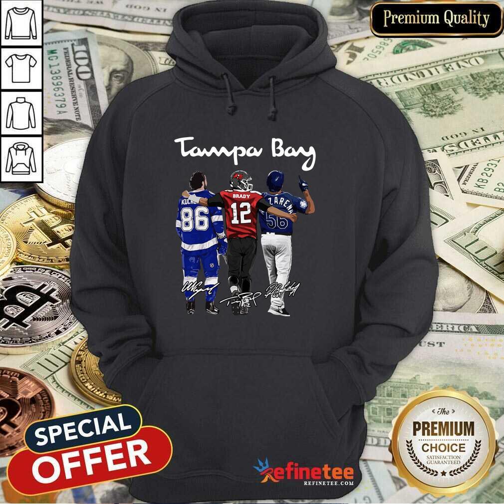 Perfect Tampa Bay Nikita Kucherov Tom Brady Randy Arozarena Signatures Hoodie