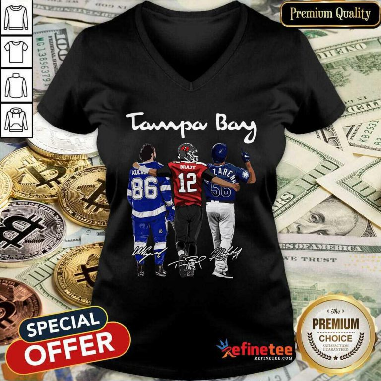 Perfect Tampa Bay Nikita Kucherov Tom Brady Randy Arozarena Signatures V-neck