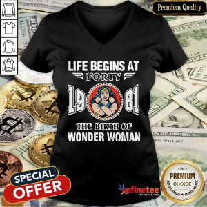 Top Life Begins At Forty 1981 The Birth Of Wonder Woman V-neck