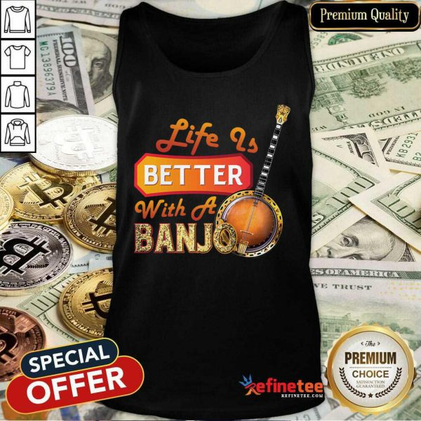 Wonderful Life Is Better With A Banjo Tank Top - Design By Refinetee.com