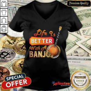 Wonderful Life Is Better With A Banjo V-neck - Design By Refinetee.com