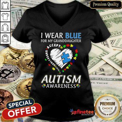 Premium Blue Autism Granddaughter V-neck