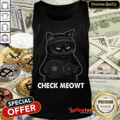 Awesome Check Meowt Black Cat Tank Top