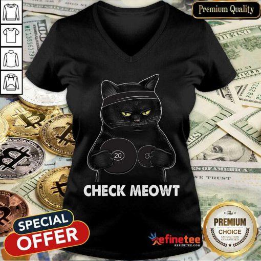 Awesome Check Meowt Black Cat V-neck