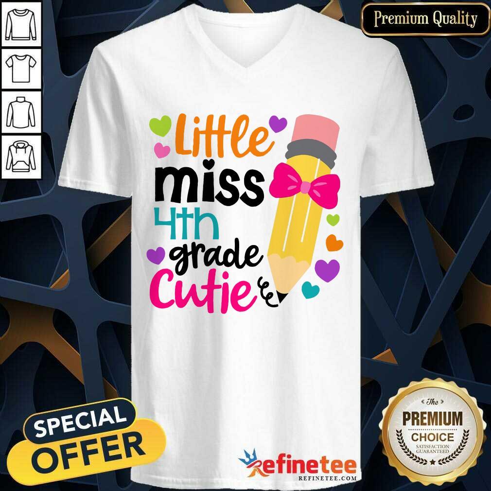 Excellent Little Miss 4th Grade Cutie V-neck