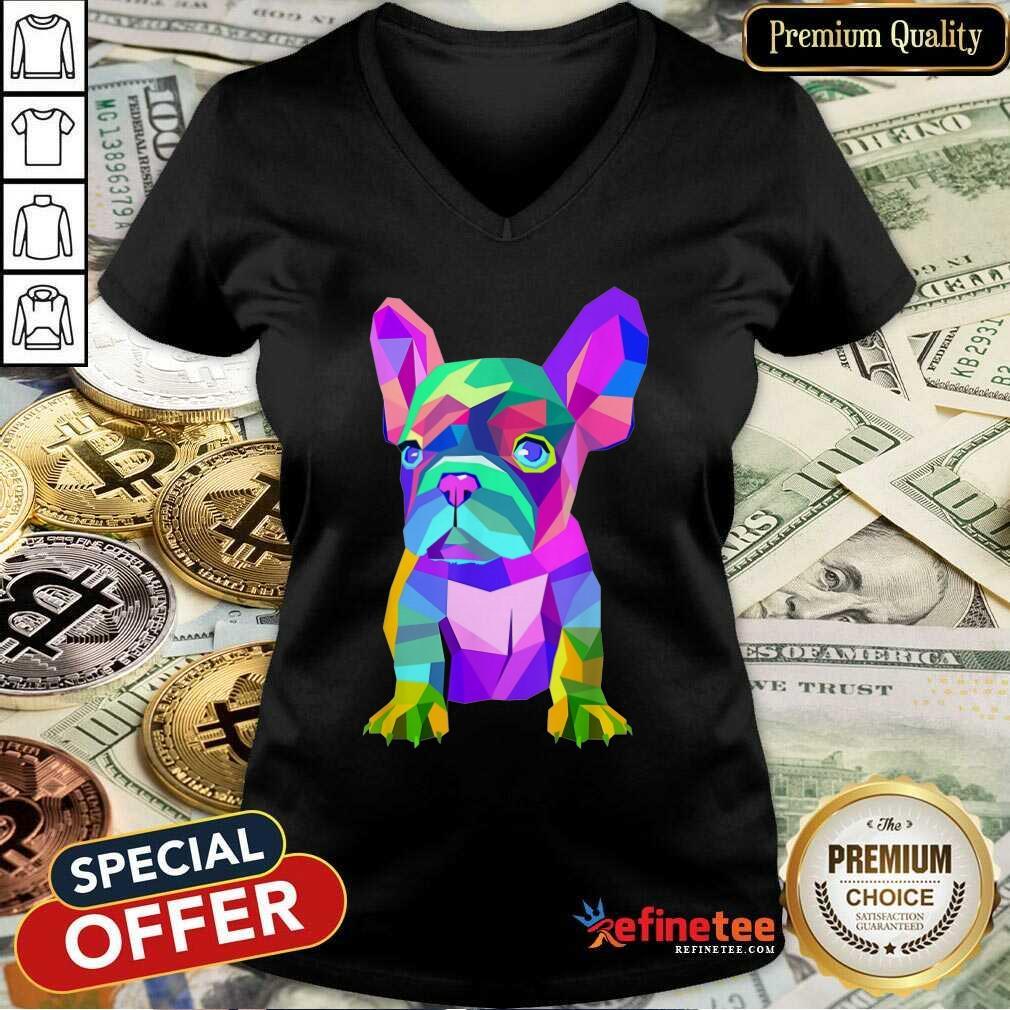 Funny Pop Art Cute French Bulldog V-neck
