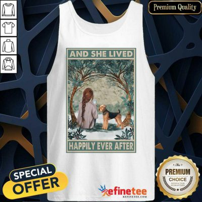 Hot Airedale Dog And She Lived Happily Ever After Poster Tank Top