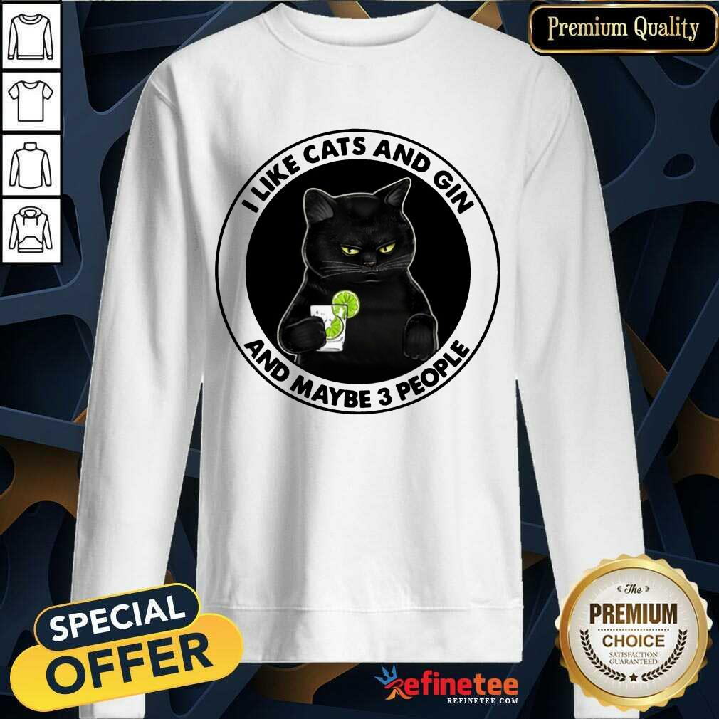 Hot I Like Cat And Gin And Maybe 3 People Sweatshirt
