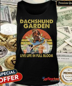 Dachshund Garden Live Life In Full Bloom Vintage Tank Top