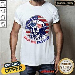 Golden Best Dog Dad Ever American Flag Shirt