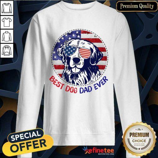 Golden Best Dog Dad Ever American Flag Sweatshirt
