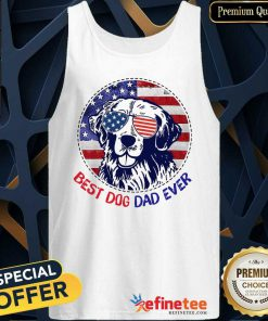 Golden Best Dog Dad Ever American Flag Tank Top
