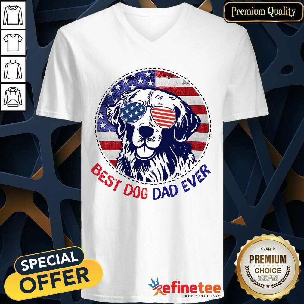 Golden Best Dog Dad Ever American Flag V-neck