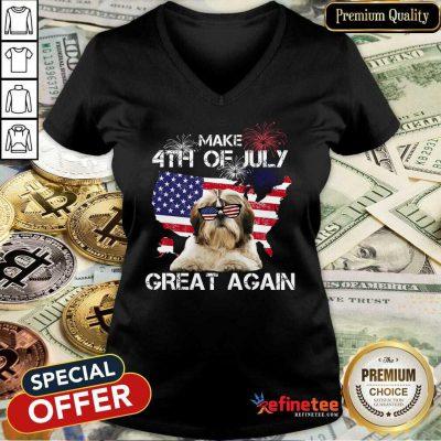 Make 4th Of July Yorkshire Terrier V-neck