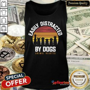 Easily Distracted By Dogs Animal Hearted Vintage Tank Top