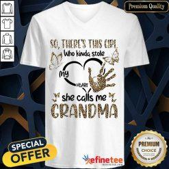 Girl Heart She Call Me Grandma V-neck