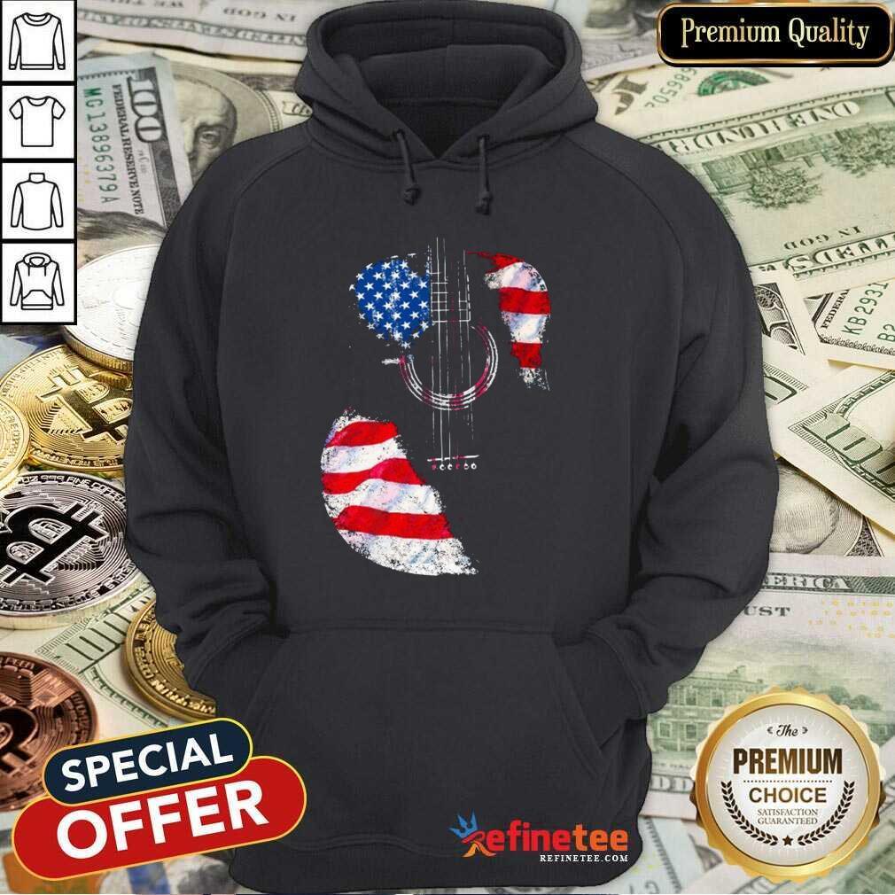 Guitar American Flag Hoodie