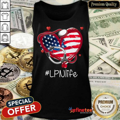 Heart American Flag LPN Life Tank Top