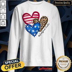 Heart USA Leopard 2nd Grade Teacher Sweatshirt