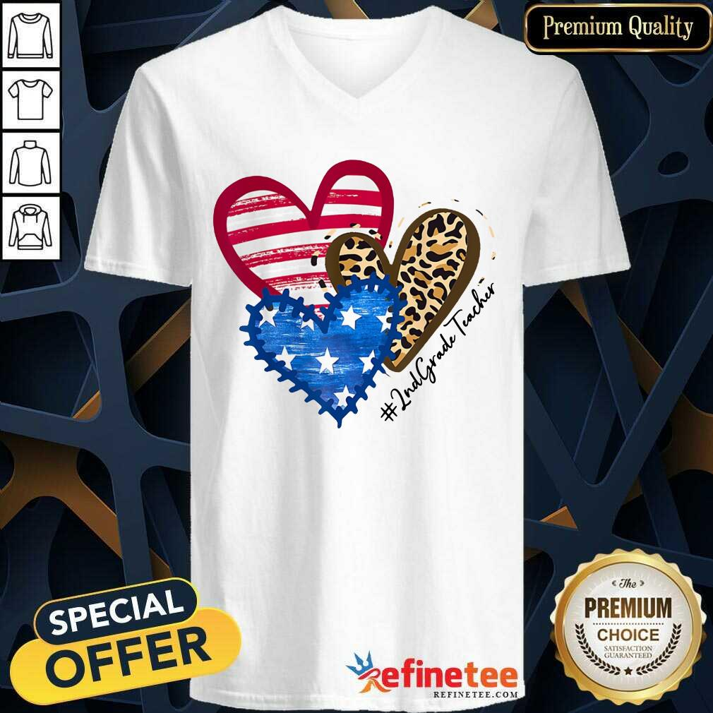 Heart USA Leopard 2nd Grade Teacher V-neck