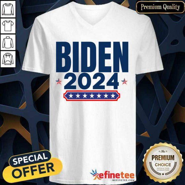 Biden 2024 Stars And Stripes Red White And Blue V-neck
