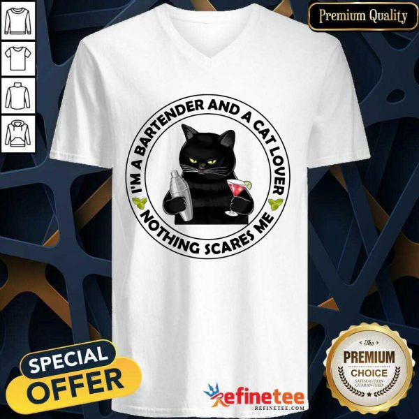 Black Cat I'm A Bartender And A Cat Lover Nothing Scares Me V-neck