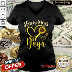 Heart Sunflower Happiness Is Being A Yaya V-neck