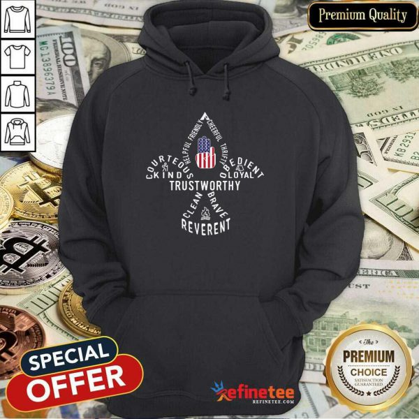 Scouting Gift Us America Flag Scout Law Hoodie