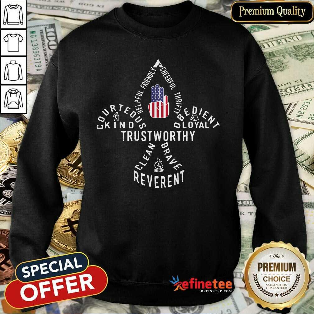 Scouting Gift Us America Flag Scout Law Sweatshirt