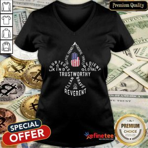 Scouting Gift Us America Flag Scout Law V-neck